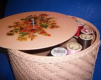 Wicker Harvey Sewing Basket Dusty Rose with Rose Decal Inside and on Lid