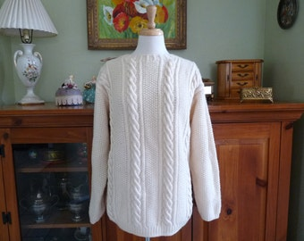 Fisherman Cable Knit Sweater Wool Handknit sweater Nordstrom Town Square M/L