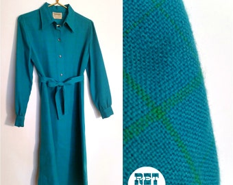 Fab Teal Blue Vintage 60s Mod Plaid Checker Wool Shirt Shift Dress!