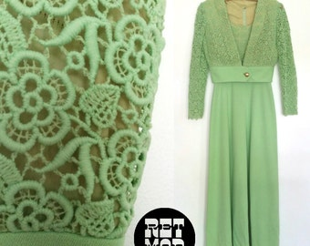 Amazing Bright Shamrock Green Crochet Floral Vintage 60s Maxi Matching Dress Set!