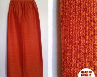 Vintage 60s Orange Long Maxi Skirt with Amazing Stiff Weave Fabric!