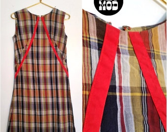 Sweet Vintage 60s Mod Red Plaid Short Shift Dress