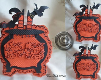 Halloween Cauldron Card Cutting File. All file formats offered