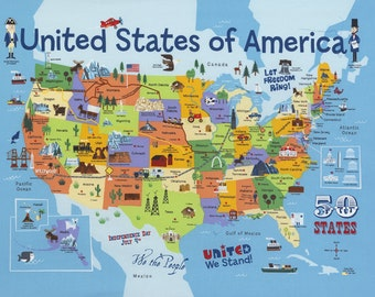 Timeless Treasures Fabric United States Map Panel