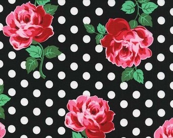 Michael Miller Retro Floral Dot Roses Fabric, LUCY- yards