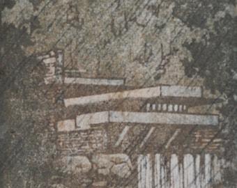 Falling Water Woodblock Print OOAK Hand Pulled Moku Hanga Fine Art Print
