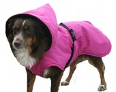 Listing for Kellymaloney88, Hooded Dog Raincoat, Yellow poly outer, Custom made for your dog