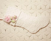 Stunning Textured Butterfly Flowers Cottage White Vintage Chenille Stocking with Pink Millinery Flowers