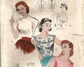 Vintage 50s Blouse Pattern 34 bust Butterick 6886 size 16 Shirt Top S M 1950s