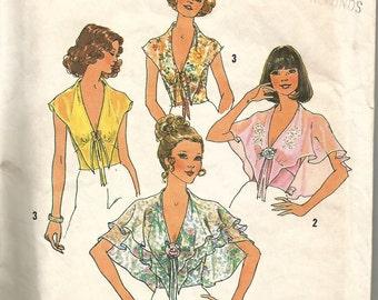 Vintage 70s Halter Top Blouse Pattern Cape Collar Uncut FF 31 1/2 bust xs s Shirt Hippie Simplicity 6945