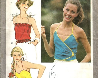 Vintage 70s Halter Top Blouse Pattern Spagetti Strap Uncut FF 4 bust s Shirt Hippie Simplicity 9438 One Yard
