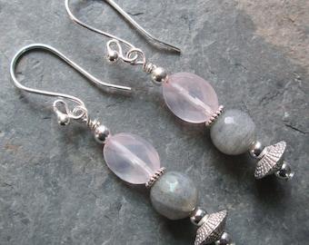 Rose Quartz and Labradorite Earrings - Heart Chakra jewelry