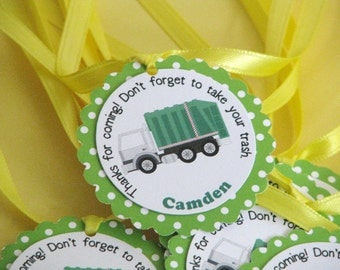 Garbage Truck Favor Tags, Assembled Ready to Use, Recycling Party, Garbage Truck Birthday,