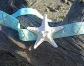 Starfish Headband,Beach Wedding, Mermaid Headband,Moroccan Print Headband,Nautical Wedding,Starfish,Baby Photo Prop, Mermaid Birthday