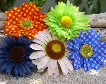 Flower Hair Accessories-SALE-Set of 5, Fall Hair Clips, Sunflowers, Rustic Weddings, Back to School, Fall Fashion, Floral Hair Clips