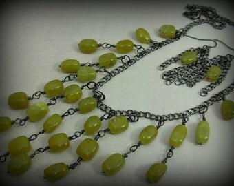 Statement Bib Necklace and Earrings Olivine Jade Gunmetal Chic Boho #2081