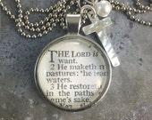 Vintage Bible Verse Pendant Necklace Psalms 23