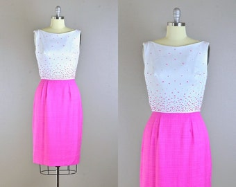 vintage 1950s Dress • Sprinkle Dress • wiggle Dress • 50s Party Dress • Pink Dress • Medium Large