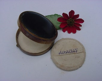 Vintage Arabay Face Powder Compact Puff Mirror ART DECO Black and Brass