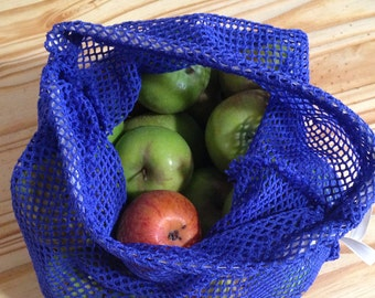 Reusable produce bag, vegetable bag, reusable Fruit Bag, large Produce Bag - Blue netted drawstring bag
