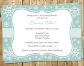 Winter Bridal Shower Invitations, Wedding, Snowflakes, Green, White, Gray, Set of 10 Printed Cards, FREE Shipping, SNLOM, Snowfall Love Mint