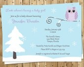 Winter Baby Shower Invitations, Baby Girl, Purple, Owl, Snow, Set of 10 Printed Cards, FREE Shipping, WIHGL, Winter is a Hoot Purple