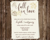 Fall Bridal Shower Invitations, Autumn, Wedding, Leaves, Chocolate, Set of 10 Printed Cards, FREE Shipping, FLLAT, Fall in Love Autumn