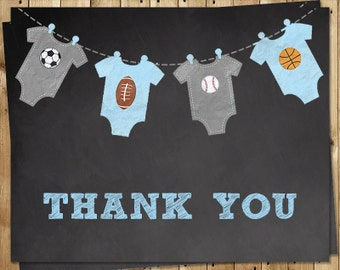 Sports Thank You Cards, Chalkboard, Baby Shower Sprinkle, Basketball, Soccer, Football, 24 Folding Notes