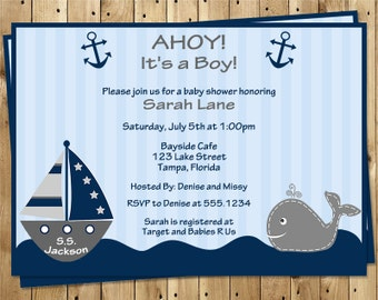 Nautical, Baby Shower Invitations, Ahoy It's a Boy, Whale, Gray, Boat, Anchor, Stripes, 10 Printed Invites, FREE Shipping, AIBTW, Custom