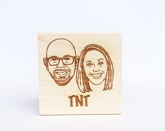 Portrait Stamp/ Face stamp/ Couple portrait stamp/ Wedding invitation stamp/ Christmas gift/ Any texts on rubber stamp for FREE