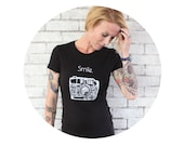 "35 mm Vintage Camera Tshirt, ""Smile"" Photography Shirt, Short Sleeved Cotton Crewneck Graphic Tee Shirt, Hand Screenprinted, Black T Shirt"