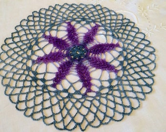 Purple Flower Doily