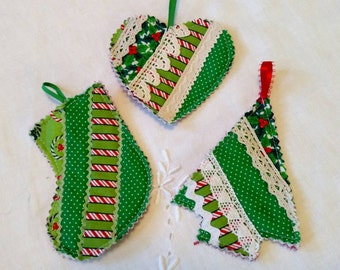Quilted Ornaments Set of 3