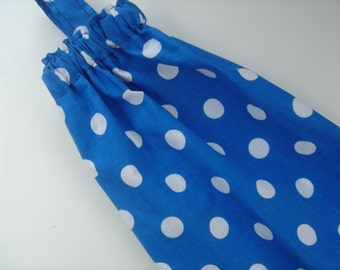 Plastic Grocery Bag Holder in Royal Blue and White Dot Fabric, Plastic Grocery Bag Storage Cobalt  Blue Dots