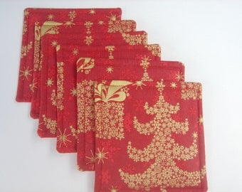 Red and Gold Christmas Tree Fabric Drink Coasters Six Coasters