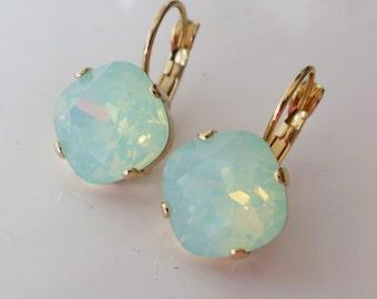 Mint Earrings Gold, Mint Crystal Earring Seafoam Earrings Mint Opal Jewelry Swarovski Chrysolite Opal Rhinestone leverback - Gift to Her