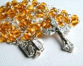 Handmade Catholic Rosary, Amber Rosary, Yellow Rosary, Linked Rosary, Rosary Necklace, Prayer Beads