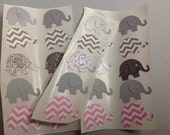50 pc Pink And Grey Paper Elephant  Stickers  New Baby   Shower   Party