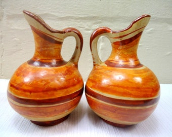 Set of Two Vintage Mexican Pottery Pitcher Vases