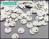10 pcs of 6mm plain round discs for stamping, in matte silver, tags, tabs, circle, disc for stamping initial 917-MR