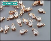 4 clear crystal Cubic Zirconia teardrop charms in rose gold setting, CZ jewelry 1885RG-CL
