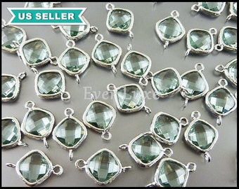 2 framed diamond shape glass crystals, light green / prasiolite green faceted glass stone connectors, prefect for bridal jewelry 5063R-PR