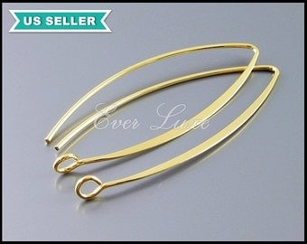 4 shiny gold plated brass sleek and long marquise shaped earwires / ear wires, earrings B075-BG
