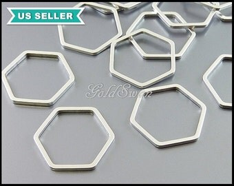 4 small 17mm delicate honeycomb pendants in matte silver, hexagon pendants, geometric shape jewelry designs 937-MR-17