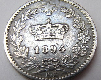 1894 ITALIA ANTIQUE COIN Over 120 Years Old Kingdom of Italy Umberto 1st 20 Centesimi Berlin mint Copper Nickel Coin