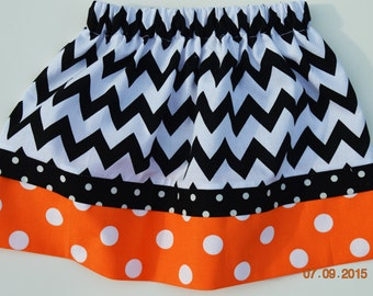 Chevron and Polka Dot Orange and Black Skirt