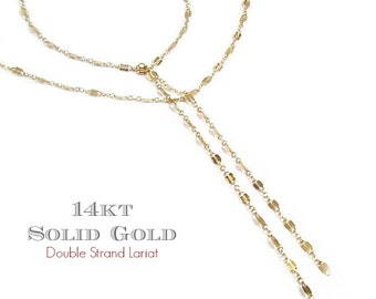 """14K Gold Double Strand Lariat Necklace, Lana Blake Style Lariat Necklace- As seen on Cameron Diaz in """"The Other Woman"""" Movie"""