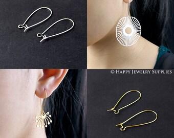 50pcs Nickel Free & Lead Free 33mm 24K Golden / 925 Silver Long Brass Hoop Earrings (GE146)