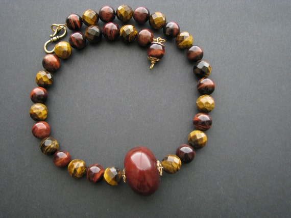 Chunky Statement Necklace Red Brown Tiger Eye Necklace Big Bead Necklace Red Jade Necklace Semi Precious Stone Necklace Gemstone Necklace