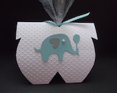 Elephant Party Favor Elephant Baby Shower Favor Aqua Teal Blue Gray Party Favor Onesie Party Favor Baby Shower Elephant Balloon Die Cut